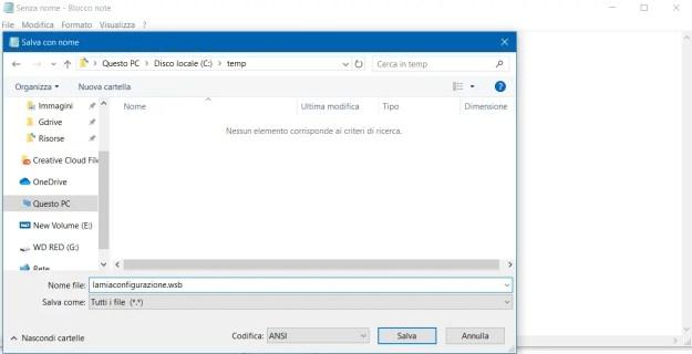 Salvare il file con estensione WSB
