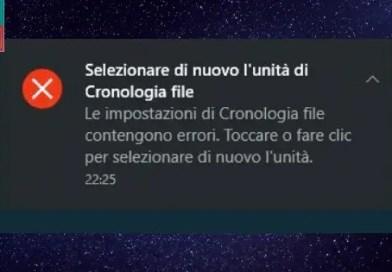 Errore backup cronologia file