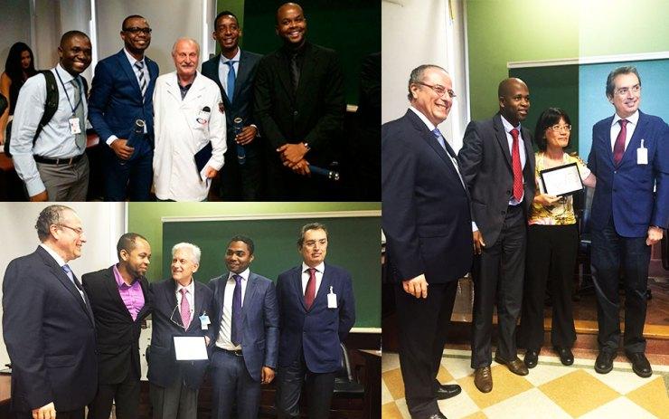 Homenagens à docentes na cerimonia de entrega de certificados de especialização de médicos angolanos