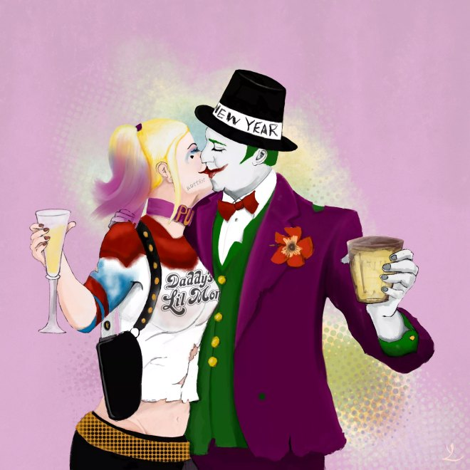 The Joker and Harley Quinn celebrate new year 2017