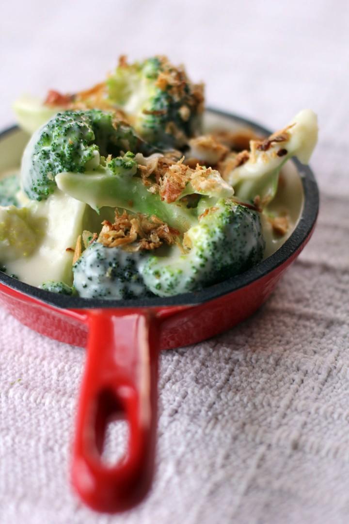 Creamy Broccoli with Crispy Fried Onions