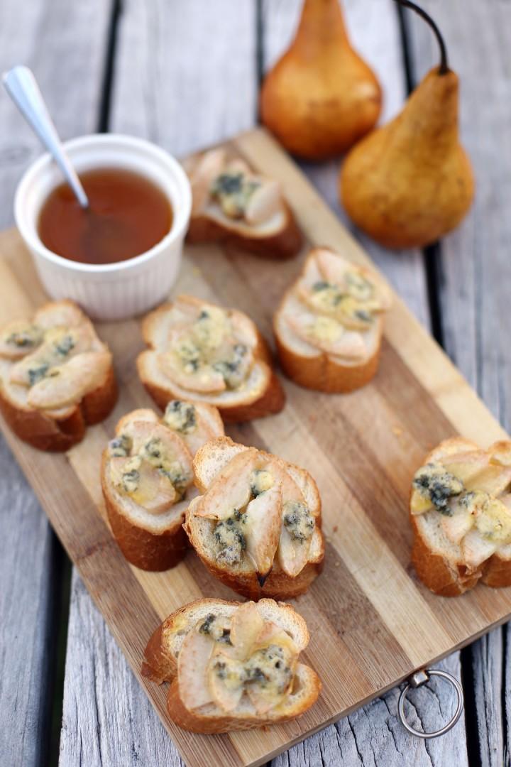 Pear, Honey and Blue Cheese Crostini