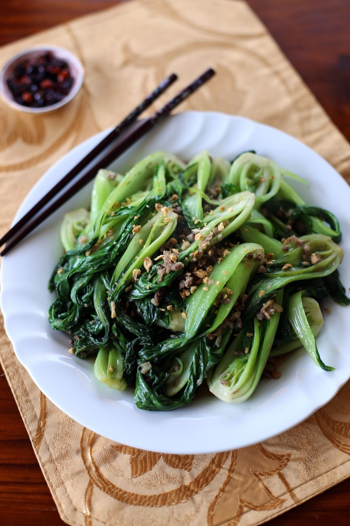 Stir Fried Bok Choy and Minced Pork