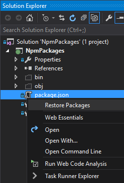 Visual Studio package.json Restore Packages