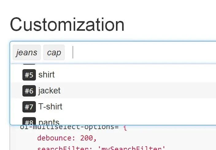 oi.multiselect Customization