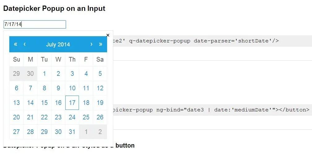 qDate Datepicker Popup on an Input