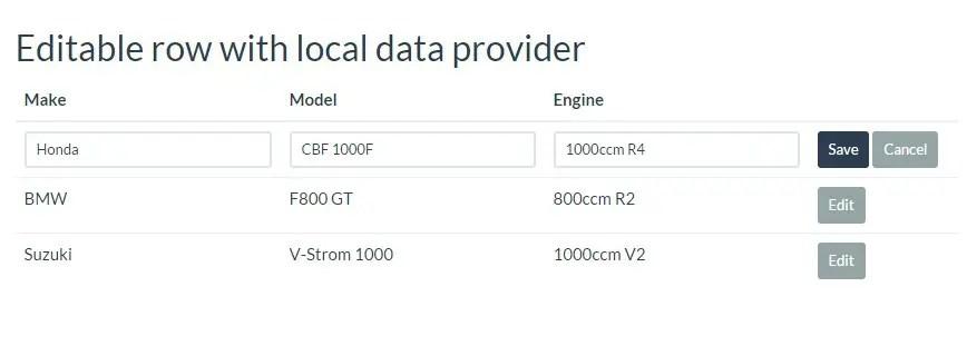 Light Grid Editable row with local data provider