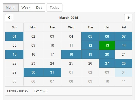 Angular Calendar.Pure Angularjs Responsive Calendar Directive Angular Script