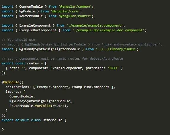 Handy Syntax Highlighter For Angular 2