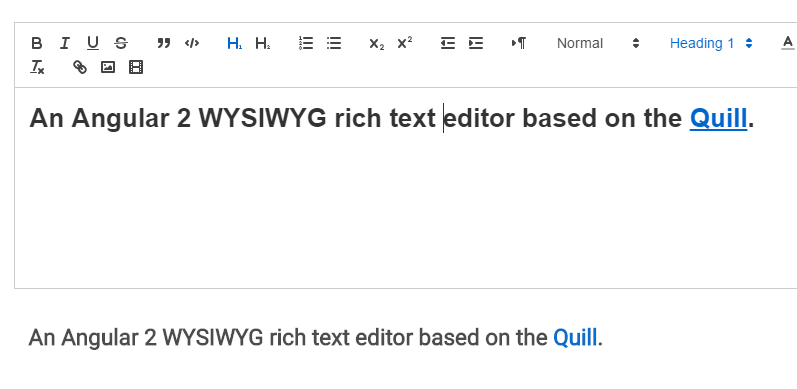 Quill Editor Component for Angular 2