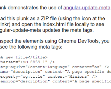 Update meta tags in AngularJS