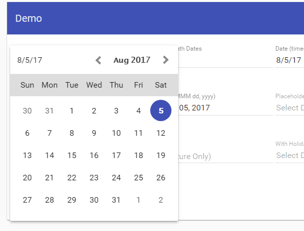Customisable Angular Material Date Picker