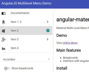 Material Multi-Level Menu For AngularJS