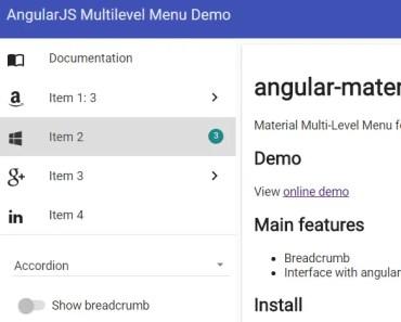 Material Multi-Level Menu For AngularJS