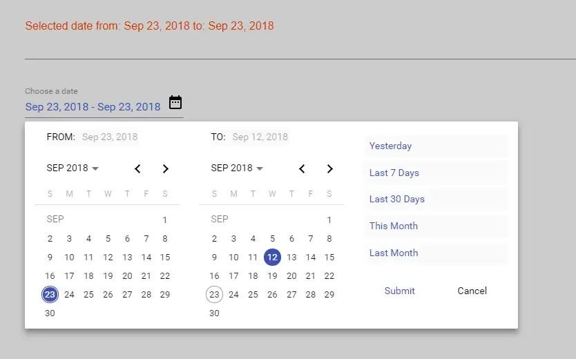 Flexible Material Date Range Picker For Angular