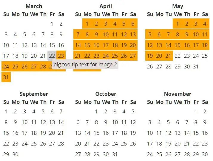 Full Year Calendar For Angular