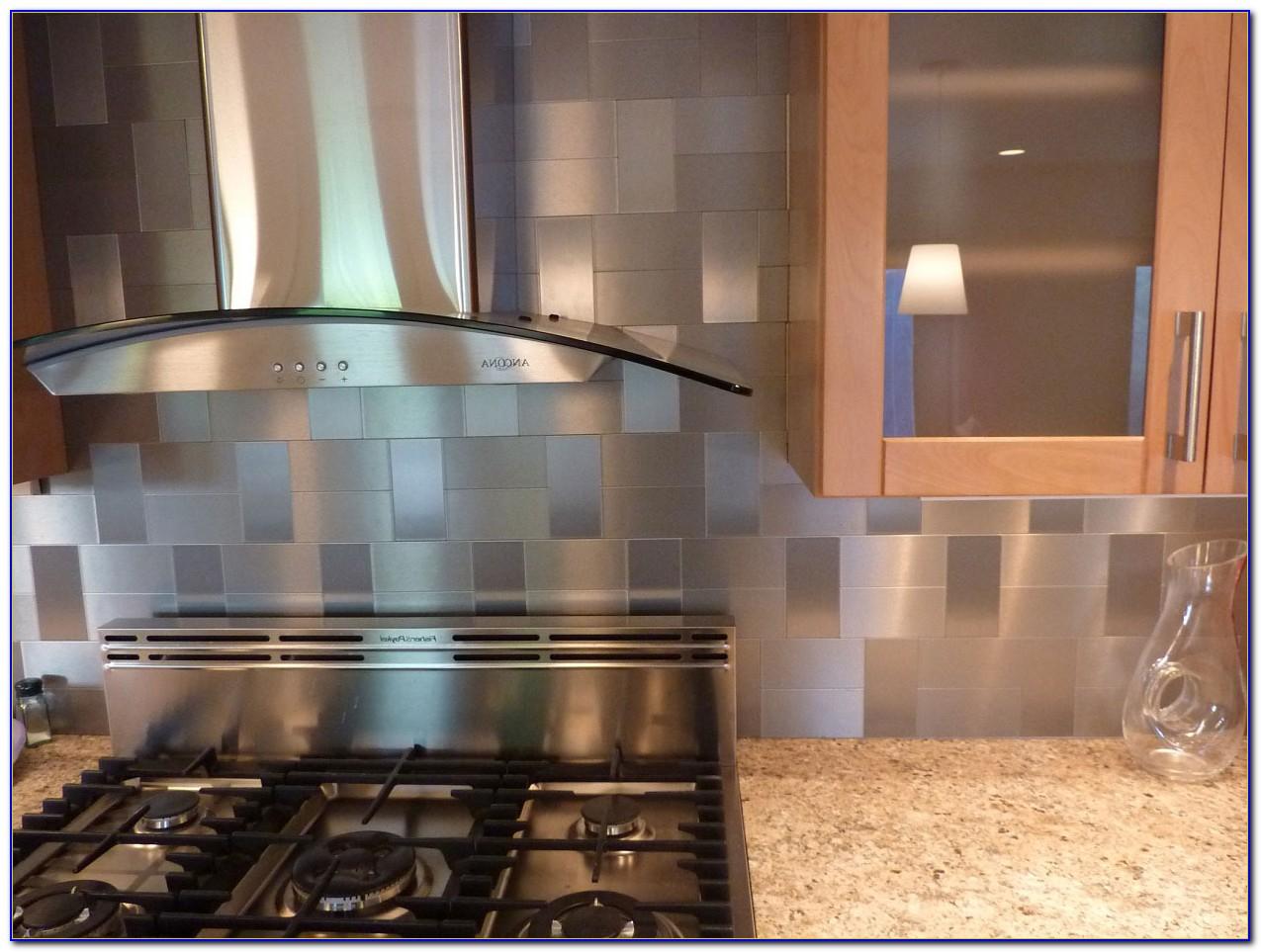 Stick On Metallic Tile Backsplash  Tiles  Home Design