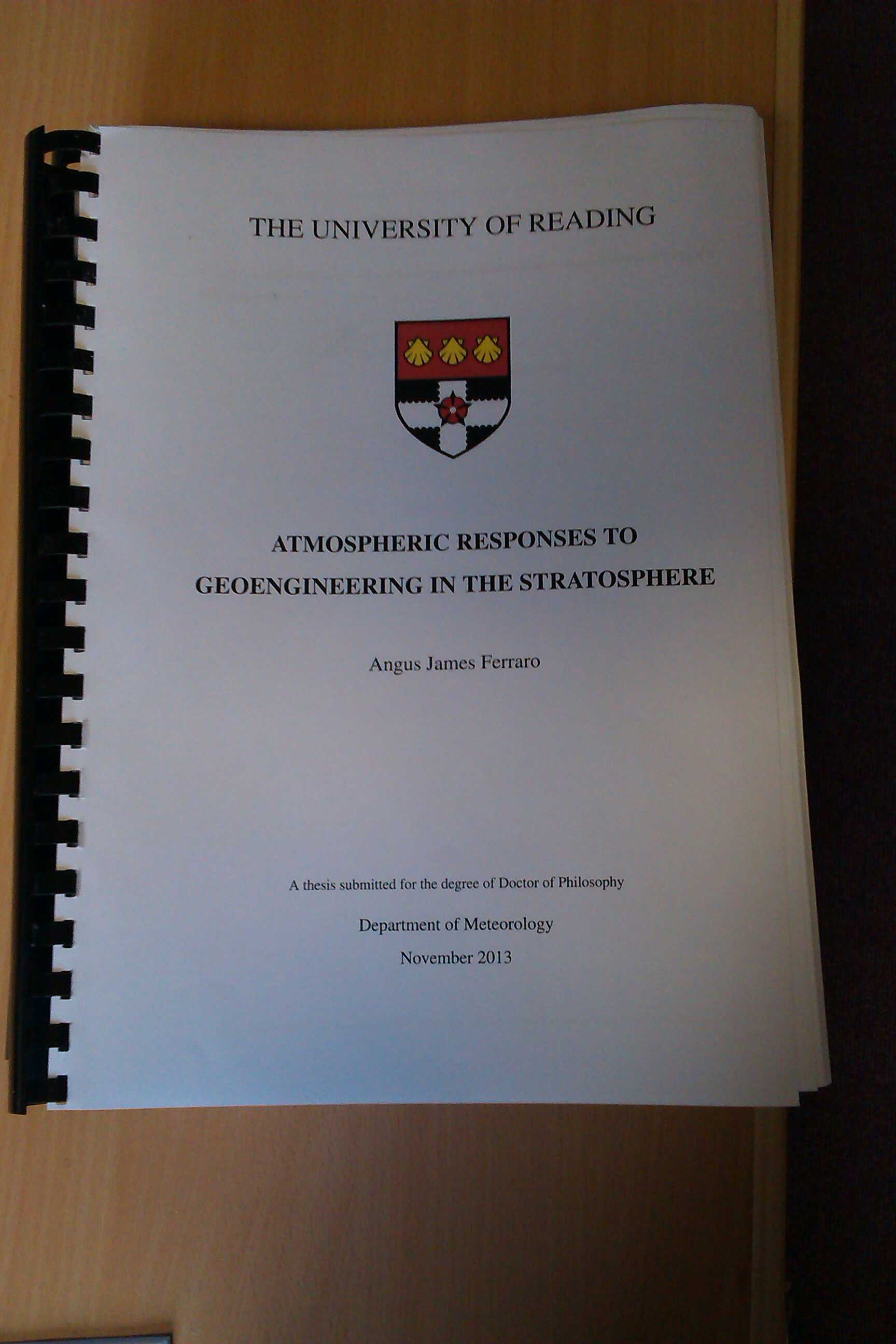 sample front page of thesis