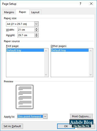 Định dạng trang - thiết lập khổ giấy