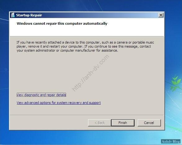 Sửa lỗi khởi động windows với Startup Repair