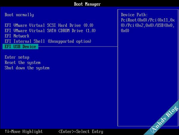 Sử dụng máy ảo VMware boot USB UEFI