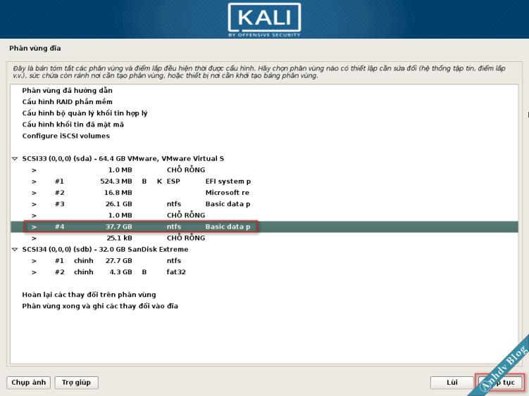 Chọn phân vùng để cài Kali Linux