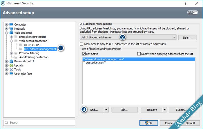 Thiết lập tường lửa chặn IP Web bằng ESET