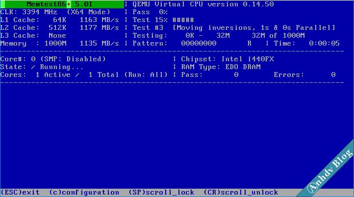 Kiểm tra lỗi RAM với Memtest86