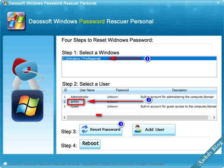 Reset mật khẩu Windows với Dassoft 1