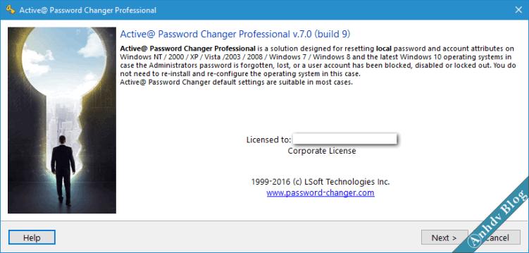 Reset mật khẩu Windows với Active Password Changer 1