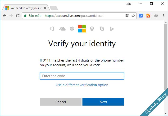 Reset mật khẩu Windows cho tài khoản Live Microsoft 4