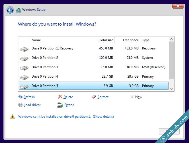Phân chia phân vùng với Windows Setup