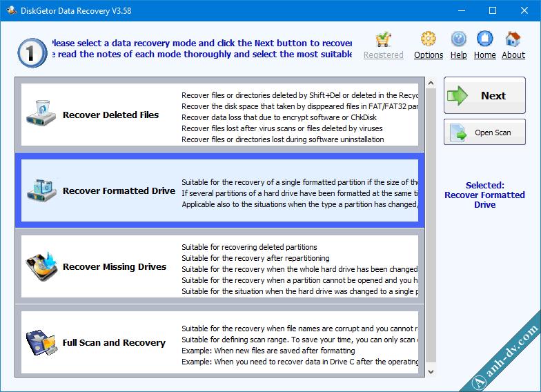 Khôi phục dữ liệu bị mất do Format nhầm với DiskGetor Data Recovery 1
