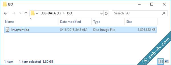 Tạo usb boot cài đặt Linux Mint song song với Windows UEFI qua Anhdv Boot