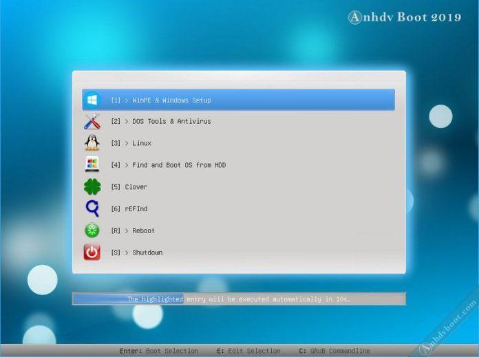 Khởi động vào WinPE (Mini Windows) của Anhdv Boot