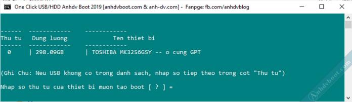 Không hiển thị usb trong danh sách công cụ 1 click tạo usb boot anhdv