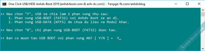 Tạo usb boot với 1 click Anhdv Boot - chọn tạo boot ẩn.