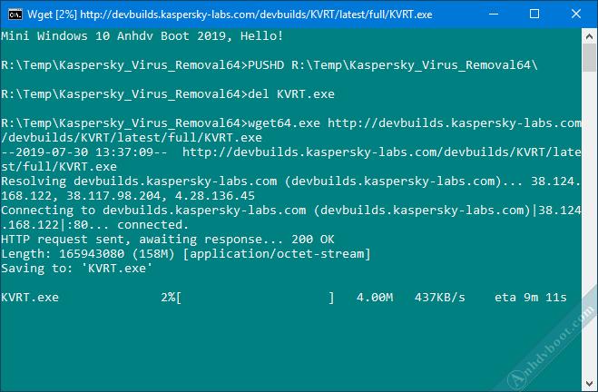 quét virus trên winpe với Kaspersky Virus Removal Tool