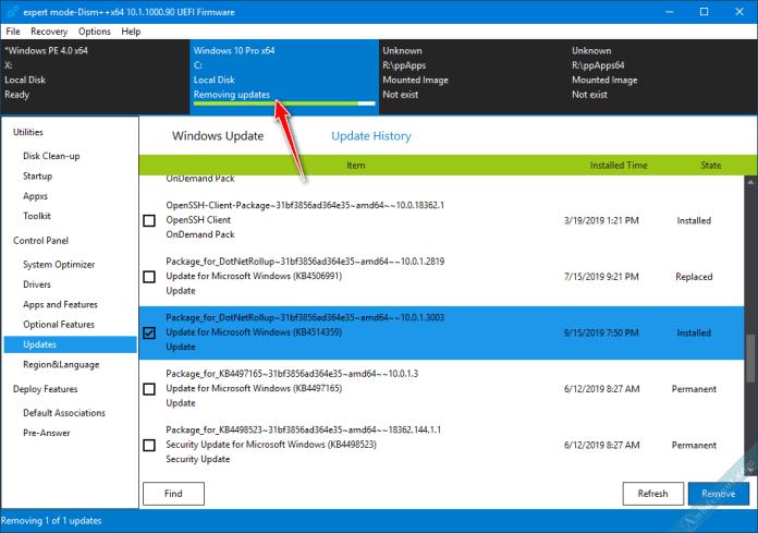 Gỡ bản windows update với phần mềm Dism ++ trên WinPE