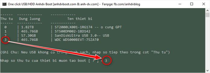 Chọn phân vùng để tạo boot ổ cứng di động với 1 click HDD Anhdv Boot
