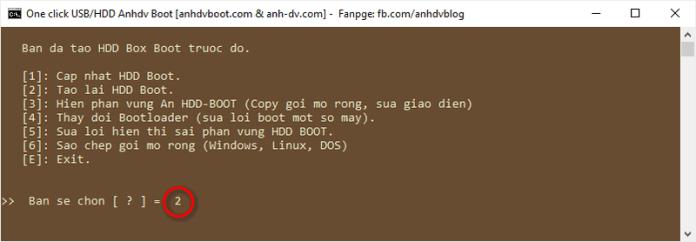 Lựa chọn tạo boot mới ổ cứng di động Anhdv Boot