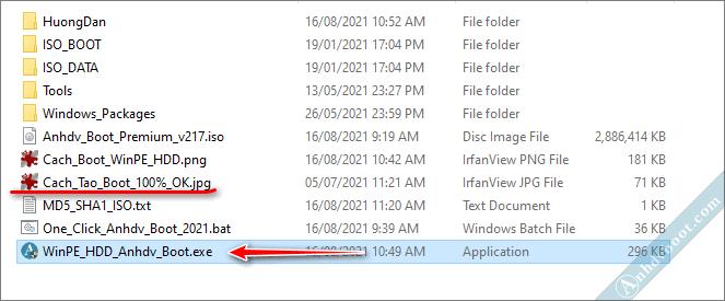 Chạy tool 1 click để khởi động WinPE từ ổ cứng