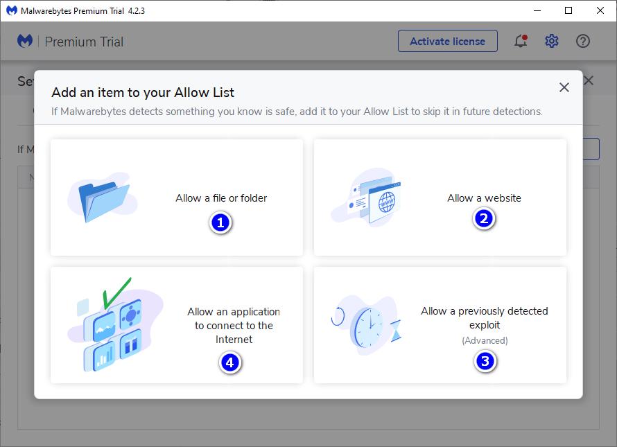 Cho web, file, folser vào danh sách cho phép trên Malwarebytes Premium