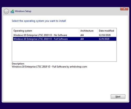 Windows 10 Enterprise LTSC 2019 V3 chọn phiên bản cài