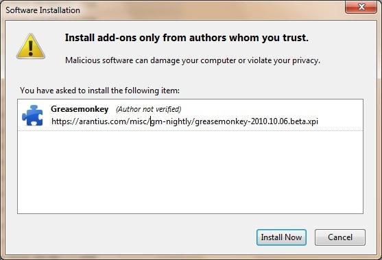 """Bản """"Night Build"""" của GreaseMonkey dành cho Firefox 4 beta"""