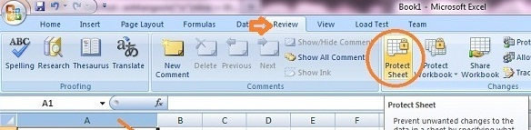 Khóa một cột, một dòng, một ô hoặc một vùng trong Excel