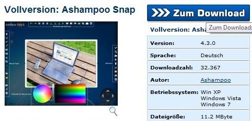 Ashampoo Snap 4 - Nhận key bản quyền miễn phí
