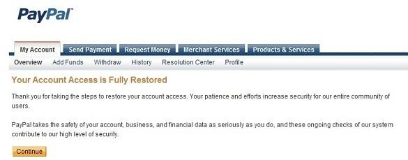 Phục hồi tài khoản PayPal bị khóa