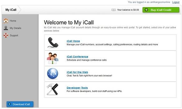 iCall : Gọi điện thoại qua Mỹ và Canada miễn phí từ điện thoại và máy tính