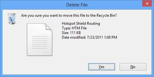 Hiển thị hộp thoại xóa file trong Windows 8